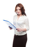 Woman  with a blue folder Royalty Free Stock Image