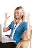 Woman blue frustration laptop stock photo