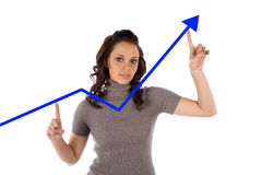 Woman blue graph Royalty Free Stock Photography