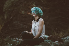 Woman with blue hair Royalty Free Stock Images