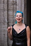 Woman with blue hair and beautiful smile Stock Photography