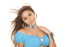 Woman in blue hair blow look hand on shoulder. Stock Photos