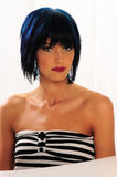 woman with blue hair and red lips Royalty Free Stock Images