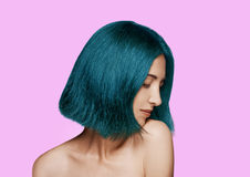 Woman with blue hairstyle Royalty Free Stock Images