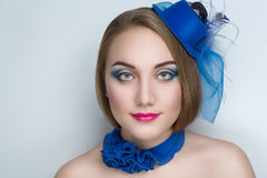 Woman with blue hat royalty free stock images