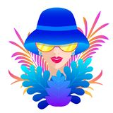 Woman in blue hat. Portrait of woman in blue hat on white background vector illustration