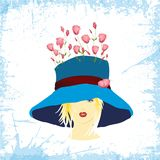 Woman in blue hat with roses. Composition with a woman in a blue hat from which roses grow royalty free illustration