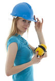Woman in blue helmet Royalty Free Stock Photos