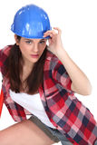 Woman with blue helmet Royalty Free Stock Images