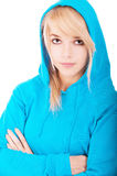 Woman in blue hood Royalty Free Stock Photography