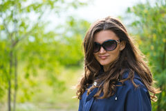 Woman in blue jacket Stock Photos