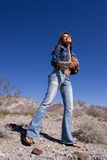 Woman in blue jeans Royalty Free Stock Image