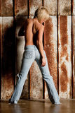 Woman in blue jeans Royalty Free Stock Photos