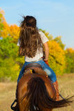 Woman in blue jeans riding a horse. Rear view of young woman in blue jeans riding a horse stock photo