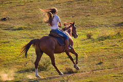 Woman in blue jeans riding a horse. Rear view of young woman in blue jeans riding a horse royalty free stock image