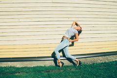 Woman in Blue Jeans and Stripes Crop Top Royalty Free Stock Photo