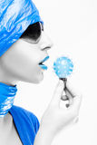 Woman with blue lips  Stock Photo