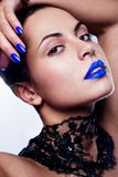 Woman with blue lipstick Royalty Free Stock Photo