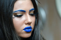 Woman with blue lipstick and unique makeup Royalty Free Stock Photography