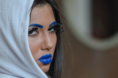 Woman with blue lipstick and unique makeup Royalty Free Stock Photo