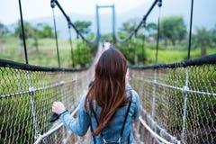 Woman in Blue Long-sleeved Dress on Rope Bridge Royalty Free Stock Image