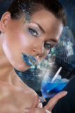 Woman with Blue Makeup and Wineglass Royalty Free Stock Photography