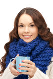 Woman with blue mug Stock Images