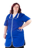 Woman in a blue overall Royalty Free Stock Images