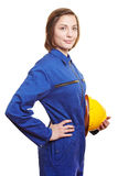 Woman in blue overall Stock Photos