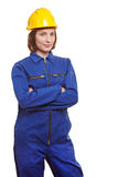 Woman in blue overall and yellow Royalty Free Stock Images