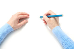 Woman and blue pencil Stock Photos