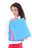Woman with blue and pink bags Royalty Free Stock Photo