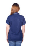 Woman in blue polo shirt isolated on white background back side Stock Photography
