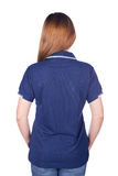 Woman in blue polo shirt isolated on white background back side Stock Images