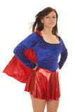 Woman blue red cape wind Royalty Free Stock Photo