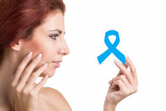 Woman  with blue ribbon Royalty Free Stock Photography