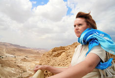 Woman with a blue scarf stock photography