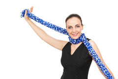 Woman with blue scarf Stock Image