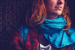 Woman with blue scarf Royalty Free Stock Photography
