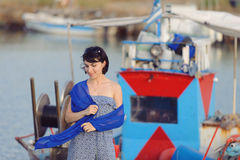 Woman in Blue Scarf Royalty Free Stock Image