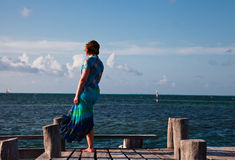 Woman in blue seeing at the sea. Woman in blue seeing at the boat on the horizon Stock Image