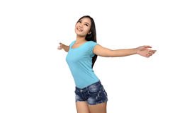 Woman in blue shirt looking happy Royalty Free Stock Photos