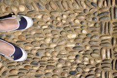 Woman in blue shoes Royalty Free Stock Photos