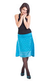 Woman in blue skirt Stock Photography