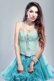 Woman in blue skirt Royalty Free Stock Photo