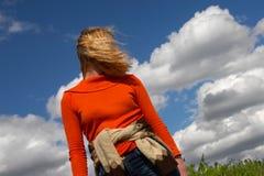 Woman, Blue Sky And Clouds. Sibir. Royalty Free Stock Photos