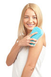 Woman with blue sponge Stock Photography