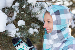 Woman in blue sporty checkered jacket with snow in hands in wint Stock Image