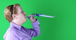 Woman with blue streamer, left side, green screen, 4K stock video