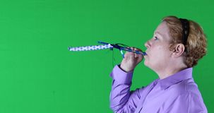 Woman with blue streamer, right side, green screen, 4K stock video footage